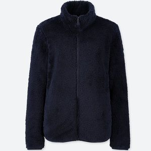 Fluffy yarn fleece teddy jacket (NAVY)